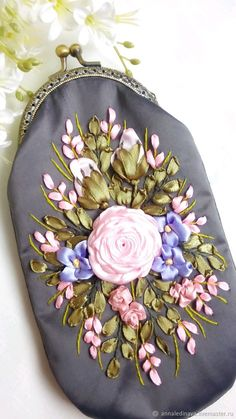 Embroidery Purse, Silk Ribbon Embroidery, Ribbon Work, Stitches, Coin Purse, Purses, Wallet, Bags, Fashion