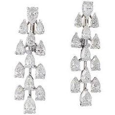 Pear Shape Diamond Gold Drop Earrings