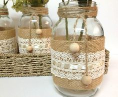 fun and easy arts and crafts Mason Jar Projects, Mason Jar Crafts, Burlap Mason Jars, Wine Bottle Crafts, Bottle Art, Bottles And Jars, Glass Jars, Crochet Jar Covers, Fun Crafts