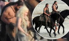 """{   GAME OF THRONES' JASON MOMOA PICTURED FIGHTING FIT ON SPANISH SET WITH ON-SCREEN WIFE EMILIA CLARKE SUGGESTING KHAL DROGO WILL RETURN... BUT IS IT JUST A FLASHBACK?   }  #DailyMailUK .... """"The Dothraki tribe-member met a grisly end in season one of the fantasy-drama. Flashback scenes are rumoured to feature heavily in series six.""""....   http://www.dailymail.co.uk/tvshowbiz/article-3270759/Game-Thrones-actor-Jason-Momoa-pictured-Spanish-set-wife-Emilia-Clarke-suggesting-Khal-Drogo-return."""