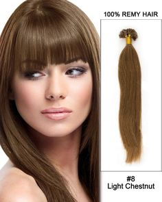 "16"" #8 Light Chestnut Straight Nail Tip U Tip 100% Remy Hair Keratin Hair Extensions-100 strands, 1g/strand"
