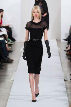 Great neckline, shape, and gloves!  Oscar de la Renta Runway | Fashion Week Fall 2013 Photos