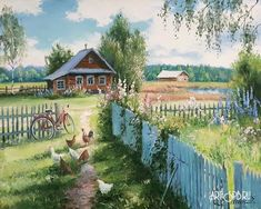 Oil painting - the living art! Russian Painting, Russian Art, Garden Painting, House Painting, Chicken Art, Painted Cottage, Pastel Drawing, Renaissance Art, Simple Art