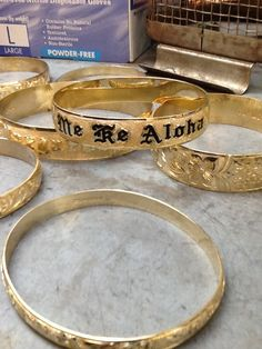 Few custom Hawaiian Heirloom Bangles before being polished and then delivered. All bangles are made inhouse.