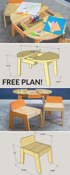 Free Project Plan: This pint-sized art table will help bring out the artist in any child. It features work and storage space, plus a pair of chairs that are sized just right for small kids. Kids Woodworking Projects, Small Wood Projects, Diy Woodworking, Projects For Kids, Diy For Kids, Woodworking Furniture, Diy Projects, Grizzly Woodworking, Woodworking Classes