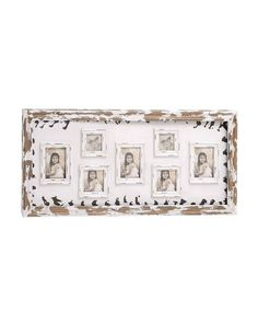 Old Time Wooden Wall Photo Frame With Distressed White Accent - This frame is quite wide in size; this ensures that it can accommodate seven frames that come attached with it. The outer frame is natural brown in color with a white , and the individual frames are white with a distressed look. All this creates a cool effect, almost like making one nostalgic was it top priority.