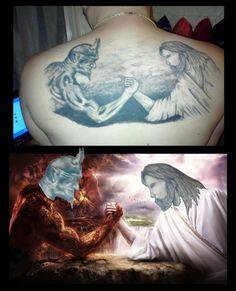 Jesus arm-wrestling with Satan