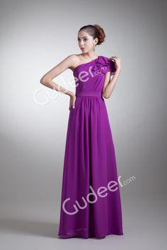 elegant purple one shoulder a-line long bridesmaid dress with asymmetrical neckline from gudeer.com