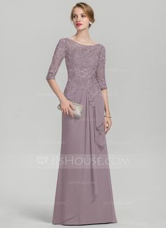 A-Line/Princess Scoop Neck Floor-Length Chiffon Lace Mother of the Bride Dress With Cascading Ruffles - Mother of the Bride Dresses - JJsHouse Mother Of The Bride Gown, Mother Of Groom Dresses, Mothers Dresses, Bride Groom Dress, Vestidos Fashion, Fashion Dresses, Mob Dresses, Nice Dresses, Dressy Dresses