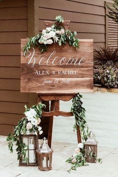Industrial meets vintage on this ultra romantic welcome wedding sign. Lanterns, flowers and greenery do the trick. decorations reception romantic 25 Wedding Signs to Make Your Guests Feel Welcome Wedding Reception Decorations, Wedding Ceremony, Our Wedding, Wedding Venues, Dream Wedding, Reception Invitations, Reception Signs, Invitations Online, Table Decorations