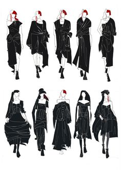 Yohji Yamamoto illustrations, lined by pen, scanned and colored in Ps. Fashion Illustration Collage, Fashion Illustration Dresses, Fashion Collage, Fashion Painting, Fashion Art, Fashion Design Sketchbook, Fashion Design Portfolio, Fashion Design Drawings, Fashion Sketches