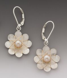 Large+Daisy+Earrings by Marie+Scarpa: Silver+&+Pearl+Earrings available at www.artfulhome.com
