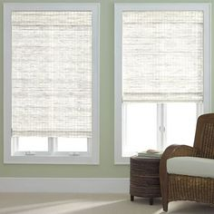 I would put these white bamboo roman shades on all the windows