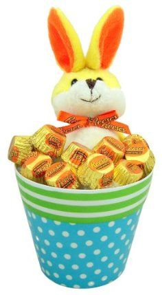 "Candy Lovers Easter Gift 12"" Rapping ""Eat it Up"" Yellow Plush Bunny Rabbit in Polka Dot Bucket with Reeses Peanut Butter Cup Candies #easter         Plush: 12"" (total length - includes ears)      Comes with Reese's Peanut Butter Cups      Bucket - Melmaine Resin - 4 1/2"" X 5"" Opening      ""Rapping"" Bunny - Presh Belly for ""Eat It Up"" Tune!      Makes a great gift!"