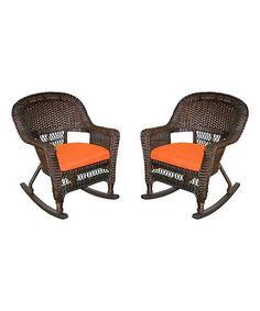 Espresso & Orange Rocker Wicker Chair - Set of Two #zulily #zulilyfinds