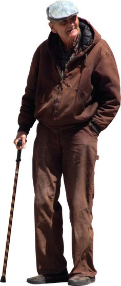 old man with walking stick and flat cap