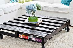 The Saphire. Custom (made to order) Ebony Stained Coffee Table. Made of reclaimed wood.