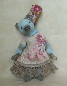 "15"" mohair bear. Custom dyed robin's egg blue. Vintage style dress. Vintage trims. BradyBears.com"
