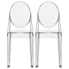 Homelala Set of Two (2) - Clear - Victoria Style Ghost Side Chairs - High Quality Dining Room Chairs - Victorian Accent Seat - Modern