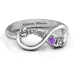 Sweet 16 with Birthstone Infinity Ring Celebrate one of the most special and exciting birthdays of her life and commemorate it with a keepsake she will have forever. Personalize with her birthstone to make it truly special.