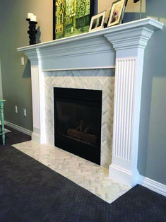 3 Incredible Tips: Stained Wood Fireplace fireplace and tv style.Old Fireplace Mantle grey concrete fireplace.Fireplace And Tv Style. Home Fireplace, Fireplace Tile Surround, Marble Fireplaces, Fireplace Design, Home Remodeling, Herringbone Fireplace, House, Fireplace Remodel, Fireplace Hearth