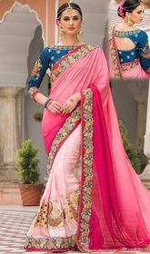 Designer Sari, Silk Fabric in Pink Color Shaded Embroidered  #manishmalhotradesignersareebuyonline #designersarees Interest oceans of attention dressed in this designer sari, silk fabric in pink color shaded embroidered. This engaging saree is displaying some great embroidery done with lace, resham and sequins work. Upon request we can make round front/back neck and short 6 inches sleeves regular saree blouse also. USD $ 211 (Around £ 146 & Euro 160)