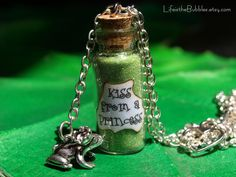 Kiss from a Princess Magical  Bottle & Frog Charm Necklace Disney Inspired, The Princess and the Frog