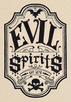 Evil Spirits Apothecary Label - Thread List | Urban Threads: Unique and Awesome Embroidery Designs