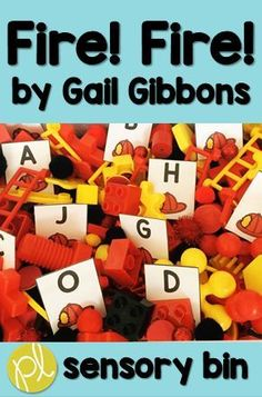 Fire Safety Month is October! Explore the read aloud Fire! Fire! by Gail Gibbons with this sensory bin literacy centers. Vocabulary, sight words, mentor sentence cards, and more included in this hands-on sensory play center! From Positively Learning #firesafety #firefighters #sensorybins #literacy centers #teaching #sensoryplay #taskcards