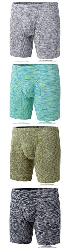 Casual Sport Elastic Underwear for Men / Sexy Knee Length Slim Fit U Convex Boxer