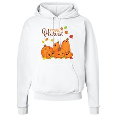 Happy Harvest Pullover Hoodie featuring cute pumpkins ready for autumn. $31.99 www.inktastic.com