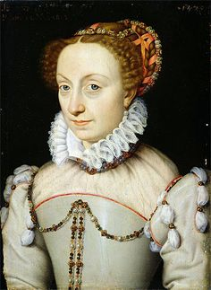 1570 Jeanne d'Albret by François Clouet (Musée Condé, Chantilly France)  She was Queen-regnant of Navarre, a basque region facing the Atlantic straddling the current Franco-Spanish border. She married Antoine de Bourbon and her son Henri (IV) became King of France and founded the Bourbon dynasty.