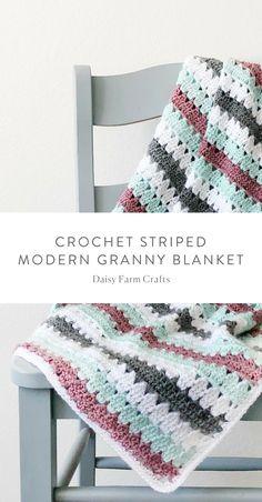 Free Pattern - Crochet Striped Modern Granny Blanket #crochet