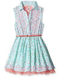 Beautees Little Girls Floral Print Shirt Dress, Mint, 10 Dresses Kids Girl, Little Girl Outfits, Collar Dress, Shirt Dress, Floral Print Shirt, Girls Wear, Pretty Dresses, Baby Dress, Coral