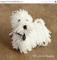 WESTIE beaded West Highland White Terrier pin/ pendant (Made to Order)