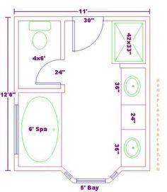 galley master bathroom plans | Free Bathroom Plan Design Ideas - Master Bathroom Design 11x12 Size ...