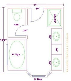 House ideals on pinterest master bathrooms bathroom for 6 x 14 bathroom layout