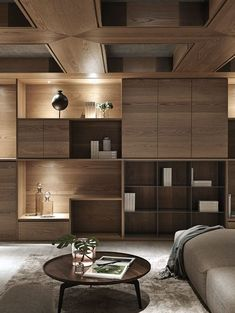 Inspiring Display Shelf Ideas To Spruce Up The Walls - Page 18 of 45 - LoveIn Home Shelf Design, Storage Design, Cabinet Design, Interior Architecture, Interior Design, Display Shelves, Shelving, Ceiling Design, Office Interiors