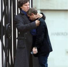 After filming Sherlock's death Martin Freeman was so upset that Benedict Cumberbatch had to comfort him with a loving hug. Their friendship is beautiful!:')