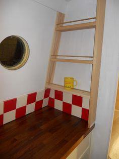 Harris & Watson Narrowboat Build: November 2012 Narrowboat Kitchen, Narrowboat Interiors, Boat Storage, Canal Boat, Best Interior, Solid Oak, Kitchen Storage, Interior Inspiration, Shelving