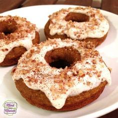 Ripped Recipes - Pumpkin Spice Cake Donuts - Fall is nearly here which means it's time to get back to one of the ultimate autumn foods-- PUMPKIN! These Pumpkin Spice Cake Donuts are guilt-free... topped with a greek yogurt 'glaze' and ground up pecans and cinnamon!