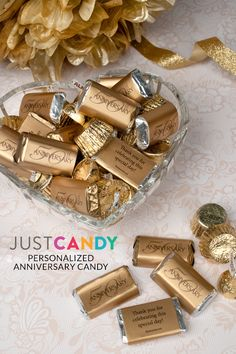 Just Candy anniversary party favors. Use Just Candy to make your event even sweeter with our unique candy favors. Anniversary Party Favors, Anniversary Decorations, Anniversary Dates, Personalized Candy, Personalized Wedding, 50th Birthday Party, Birthday Wishes, Birthday Ideas, Candy Party