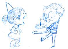 Animation — Le Petit Elefant by Genevieve Santos Happy Birthday Drawings, Happy Birthday Illustration, Love Illustration, Cute Couple Drawings, Cute Drawings, Cartoon Drawings, Cartoon Art, Arte Peculiar, Birthday Cartoon