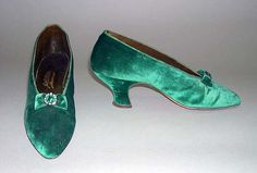 Evening slippers Designer: J. & J. Slater (American) Date: ca. 1900 Culture: American Medium: silk, leather, metal, rhinestones, wood