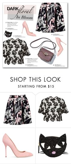 """""""In Bloom: Dark Florals"""" by kellylynne68 ❤ liked on Polyvore featuring Monique Lhuillier, Sergio Rossi, Lulu Guinness, floral, florals, floralprint and darkflorals"""