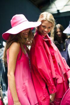 ladies in pink dresses- happy!