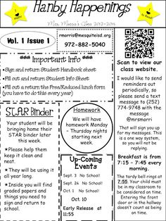 Newsletter with a QR code and text messaging reminders.