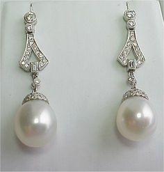 pearl and diamond earrings - Google Search
