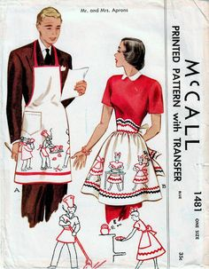 Items similar to Mr And Mrs Aprons Used Vintage Sewing Pattern Fashion Accessories Kitchen Men's Barbecue Apron With Bib McCall 1481 on Etsy Vintage Apron Pattern, Vintage Sewing Patterns, Pattern Sewing, Sewing Aprons, Sewing Clothes, Novelty Aprons, Vintage Outfits, Vintage Fashion, Vintage Dresses