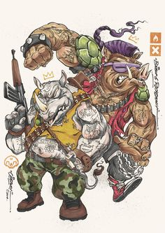 NINJAS by Clog Two, via Behance Teenage Mutant Ninja Turtles